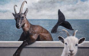 """Angelo Titonel, """"Capricorno"""", 2018, olio su tela, cm 66 x 85"""